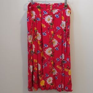 Vintage red floral maxi skirt XXL